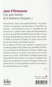 Une autre histoire de la littérature française t.1 - 4ème de couverture - Format classique