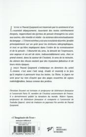 Pascal Quignard ; la littérature à son Orient - 4ème de couverture - Format classique