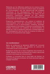 Les moteurs et systèmes de recommandation - 4ème de couverture - Format classique