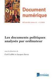 Les documents politiques analysés par ordinateur - Couverture - Format classique