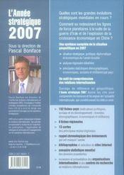 L'année stratégique 2007 ; analyse des enjeux internationaux - 4ème de couverture - Format classique