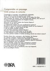 Comprendre un paysage ; guide pratique de recherche - 4ème de couverture - Format classique