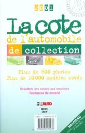 La cote de l'automobile de collection (édition 2001) - Couverture - Format classique