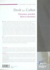 Droit des cultes. personnes, activites, biens et structures - 1ere ed. - 4ème de couverture - Format classique