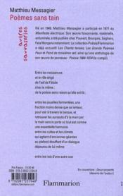 Poèmes sans tain - 4ème de couverture - Format classique