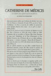 Ils ont fait la France t. 13 - Catherine de Médicis ; un destin plus grand que la prudence - 4ème de couverture - Format classique