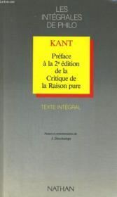 Kant Preface 2e Edition Critique De La Raison Pure - Couverture - Format classique