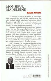 Monsieur Madeleine - 4ème de couverture - Format classique