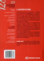 L'autofiction - 4ème de couverture - Format classique