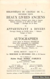 Bibliothèque du Chateau de X... I. Beaux livres anciens - II. appartenant à divers, III. autographes dont une lettre de Benjamin Franklin - Couverture - Format classique