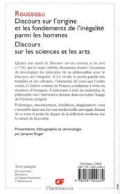 Discours sur l'origine et les fondements de l'inégalite parmi les hommes ; discours sur les sciences - 4ème de couverture - Format classique