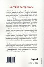 La valse européenne ; les trois temps de la crise - 4ème de couverture - Format classique