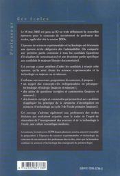 L'Epreuve Ecrite De Sciences Experimentales Et Technologie Composantes Majeure Et Mineure - 4ème de couverture - Format classique