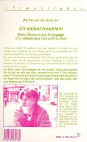 Un Enfant Troublant - 4ème de couverture - Format classique