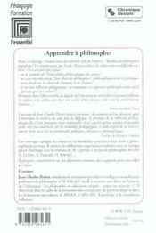 Apprendre A Philosopher - 4ème de couverture - Format classique