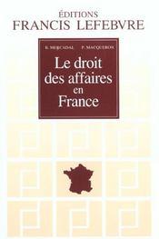 Le droit des affaires en france ; edition 2001-2002 - Intérieur - Format classique