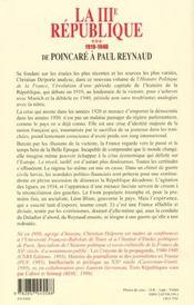 La troisieme republique t3 de poincare a paul reynaud 1919-1940 - 4ème de couverture - Format classique