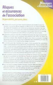 Risques et assurances de l'association ; responsabilités, personnes, biens - 4ème de couverture - Format classique