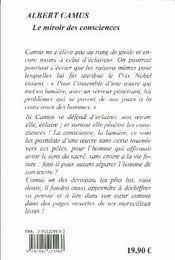 Albert Camus ; le miroir des consciences - 4ème de couverture - Format classique