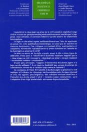 Contribution à l'étude de l'autorité de la chose jugée au pénal sur le civil - 4ème de couverture - Format classique