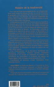 Histoire de la biodiversité - 4ème de couverture - Format classique