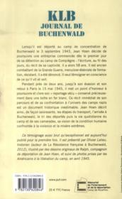 KLB ; journal de Buchenwald 1943-1945 - 4ème de couverture - Format classique