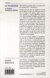 La vicariance ; le cerveau créateur de mondes - 4ème de couverture - Format classique