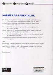 Normes de parentalité - 4ème de couverture - Format classique