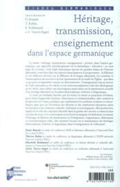Héritage, transmission, enseignement dans l'espace germanique - 4ème de couverture - Format classique