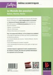 Le monde des passions ; prépas scientifiques ; programme 2015/2016 - 4ème de couverture - Format classique