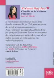 Le Club des Baby-Sitters T.2 ; Claudia et le visiteur fantôme - 4ème de couverture - Format classique