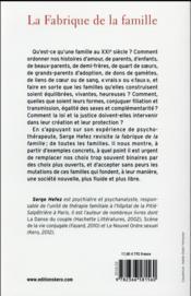 La fabrique de la famille - 4ème de couverture - Format classique