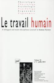 REVUE LE TRAVAIL HUMAIN N.78/3 (édition 2015) - Couverture - Format classique