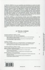 REVUE LE TRAVAIL HUMAIN N.78/3 (édition 2015) - 4ème de couverture - Format classique