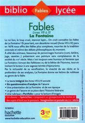Fables de La Fontaine, livres VII à XI - 4ème de couverture - Format classique