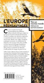 L'Europe réensauvagée ; vers un nouveau monde - 4ème de couverture - Format classique