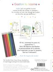 Les émotions de Gaston ; Gaston la licorne ; comment je me sens ? ; mon bloc à colorier - 4ème de couverture - Format classique