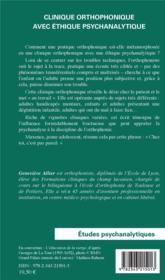 Clinique orthophonique avec éthique psychanalytique - 4ème de couverture - Format classique