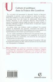 Culture et politique dans la France des Lumières, 1715-1792 - Couverture - Format classique