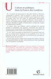 Culture et politique dans la France des Lumières, 1715-1792 - 4ème de couverture - Format classique