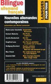 Nouvelles Allemandes Contemporaines - 4ème de couverture - Format classique