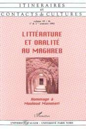 Littérature et oralité au Maghreb ; hommage à Mouloud Mammeri - Couverture - Format classique