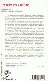 Les Bebes Et La Culture ; Eveil Culturel Et Lutte Contre Les Exclusions - 4ème de couverture - Format classique