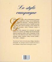 Le style campagne - 4ème de couverture - Format classique