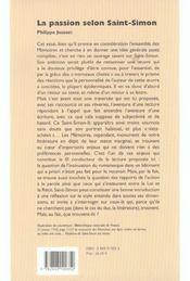 La Passion Selon Saint-Simon - 4ème de couverture - Format classique