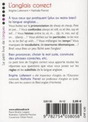 L'anglais correct - 4ème de couverture - Format classique