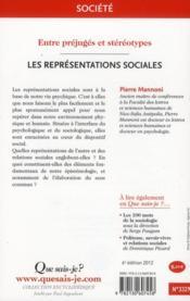 Les représentations sociales (6e édition) - 4ème de couverture - Format classique