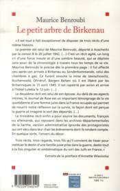 Le petit arbre de Birkenau ; journal de Rose - 4ème de couverture - Format classique