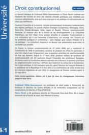 Droit constitutionnel (34e édition) - 4ème de couverture - Format classique
