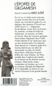 L'épopée de Gilgamesh - 4ème de couverture - Format classique